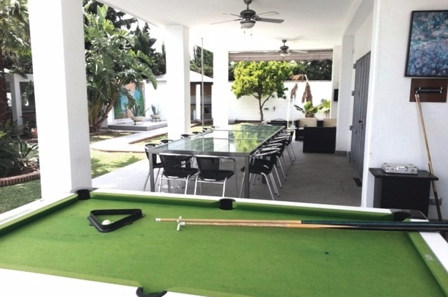 Pool table and exterior dining