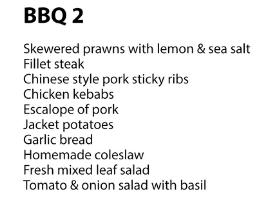 marbella BBQ menu